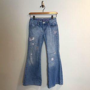 Gap Kids Distressed Flare Bell Bottom Jeans Sz 12